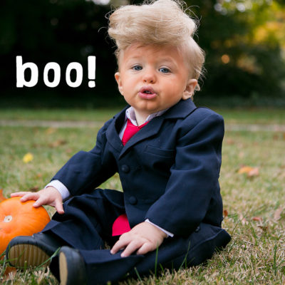 Baby dressed as Donald Trump for Halloween