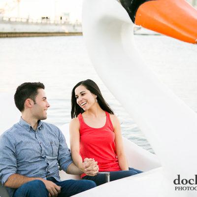 Swan boat ride at Spruce Street Harbor Park engagement session in Philadelphia