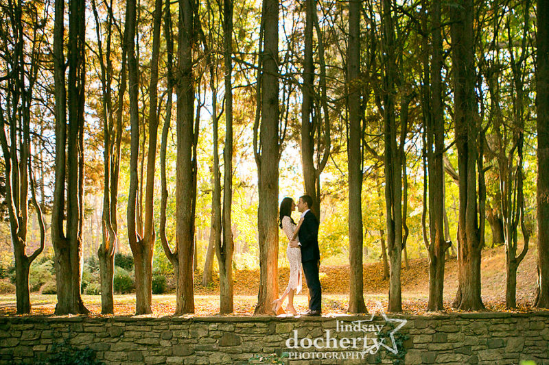 Golden fall picture of sexy couple at Ridley Creek State Park engagement session