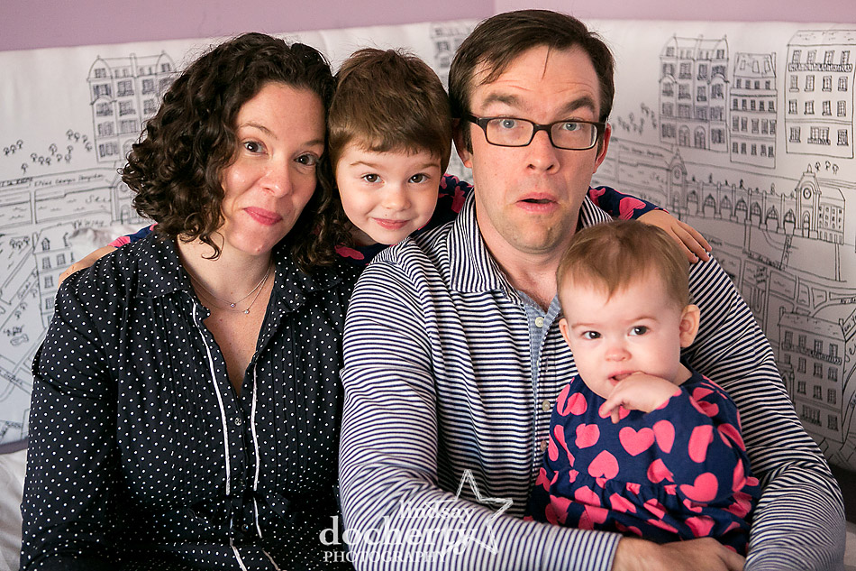 funny family portrait with two girls