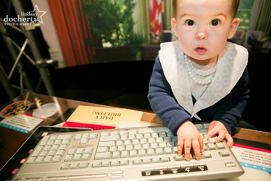 Baby Hillary Clinton typing classified information in Oval Office