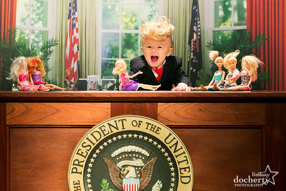 Baby Trump in Oval Office with Barbie dolls