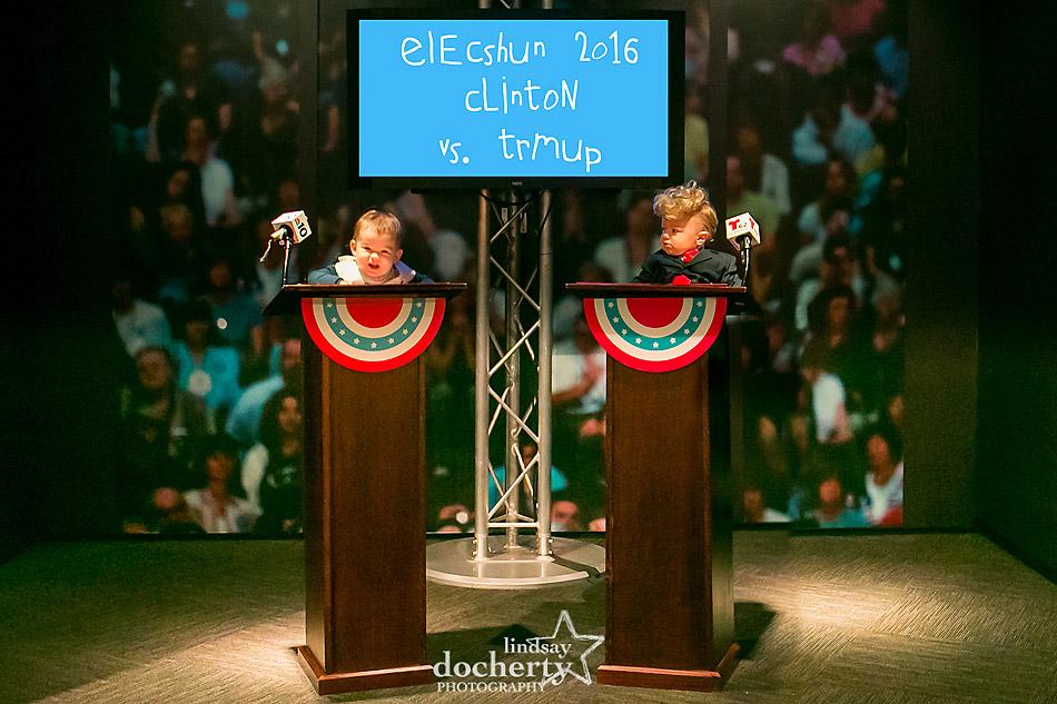 Baby Clinton and Trump debating at podiums