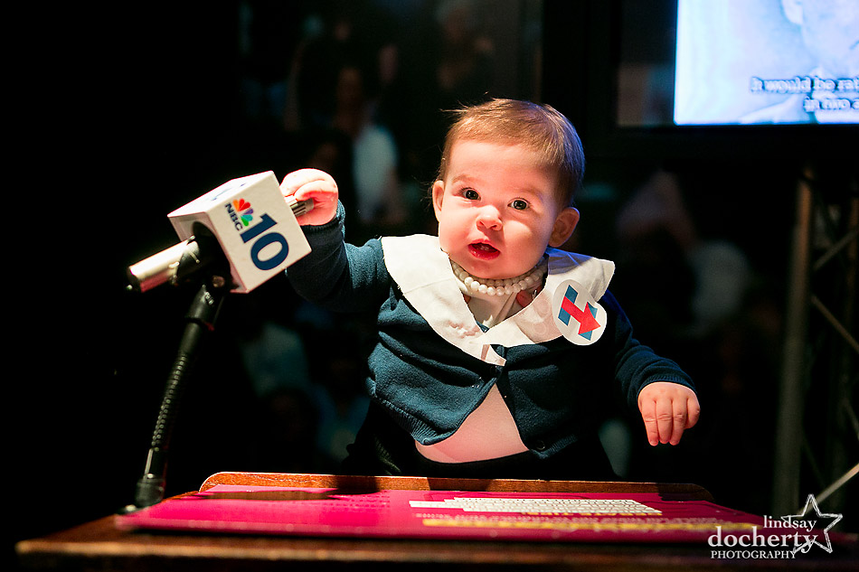 Baby Hillary Clinton at podium for TV debates