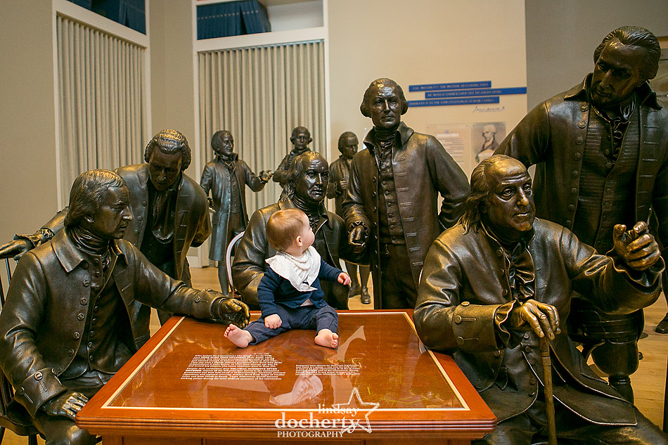 Baby Hillary Clinton with Founding Fathers at National Constitution Center