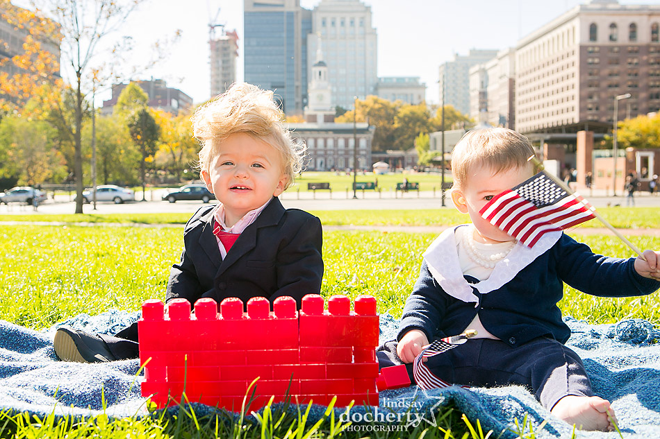 Baby Hillary and Trump in front of Independence Hall