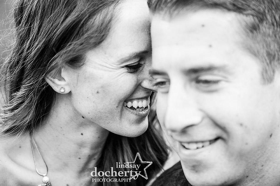 black and white closeup of happy couple at engagement session