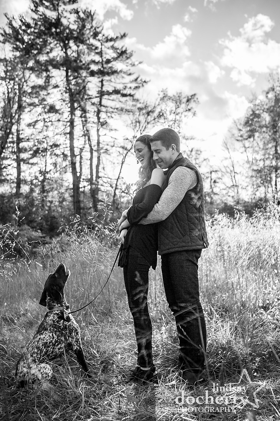 dog howling in engagement session at Ridley Creek State Park