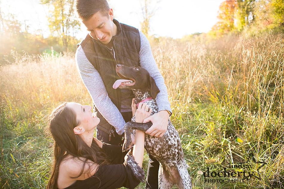 engagement session with gsp dog at Ridley Greek State Park