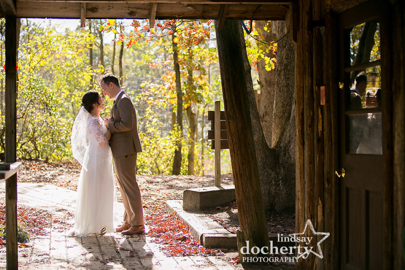 bride and groom at fairgrounds wedding at Camp Ockanickon in Medford New Jersey