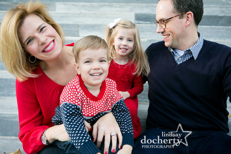 happy Philadelphia family portrait with boy and girl in Naval Square