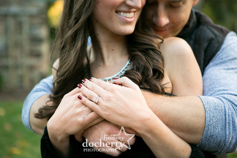sweet picture with emerald cut engagement ring