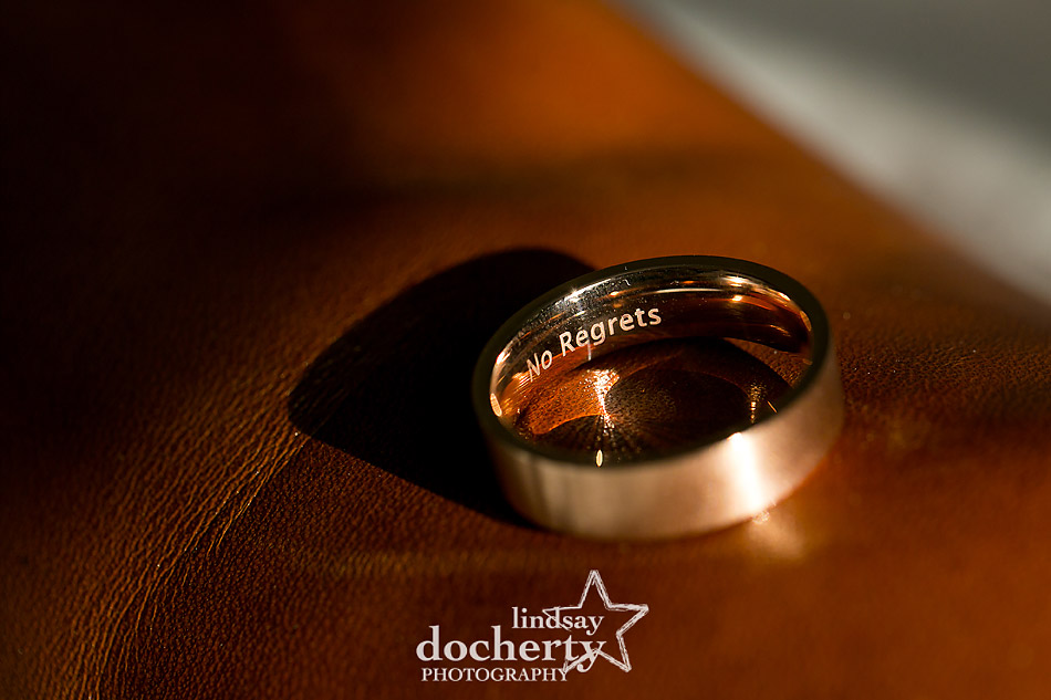 No Regrets engraving inside rose gold wedding band