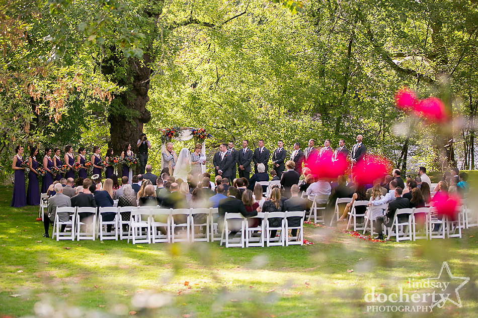 fall outdoor ceremony at Riverdale Manor by the river