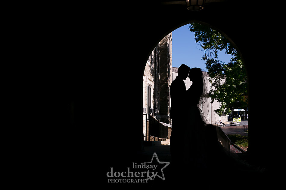 Villanova University silhouette arch picture of bride and groom