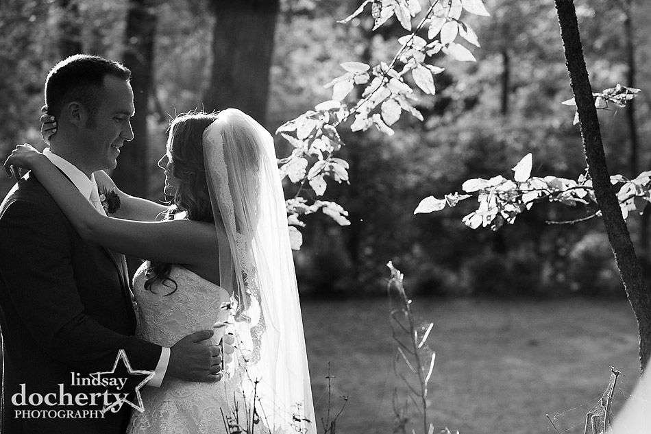 black and white wedding couple portrait at Riverdale Manor
