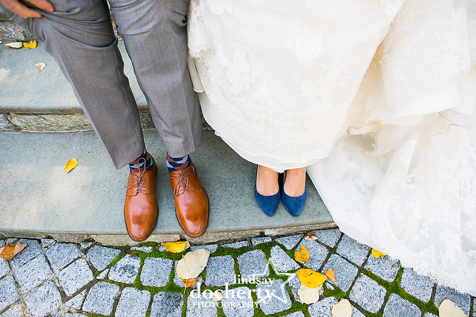 blue suede wedding shoes and fun socks for groom at Villanova University