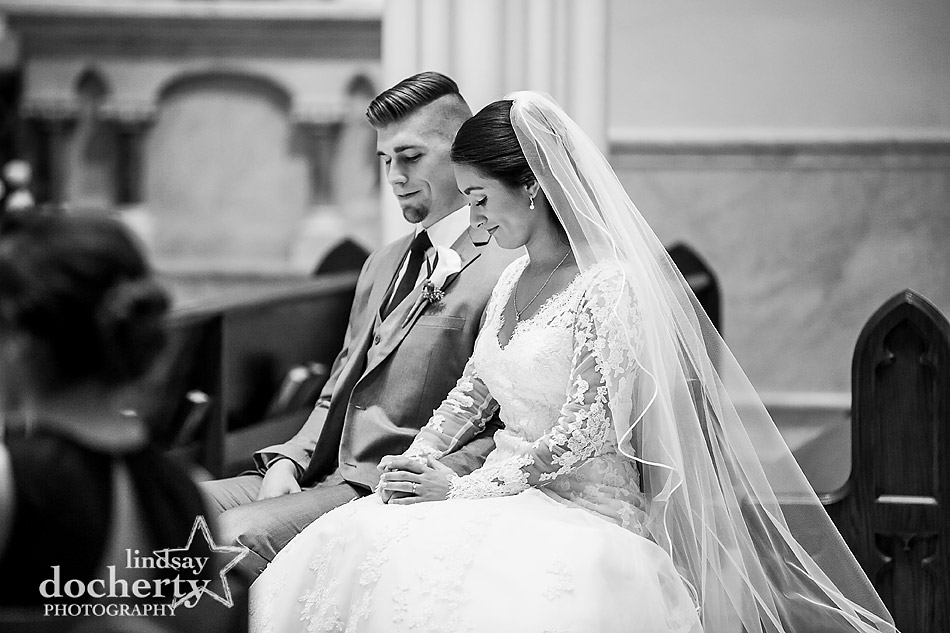 bride and groom at Catholic ceremony at St Thomas of Villanova Church