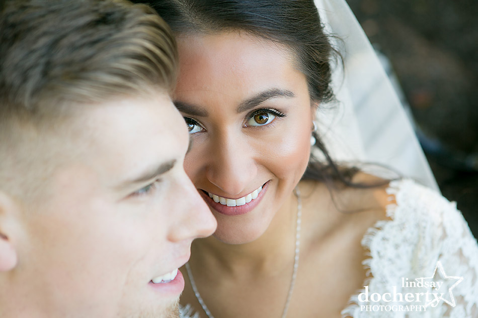 bride and groom closeup on wedding day at Villanova University