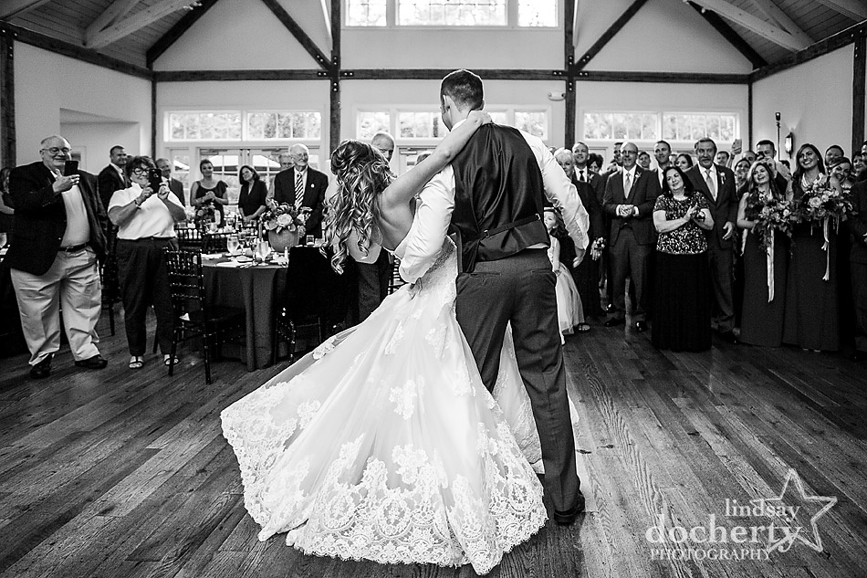 bride and groom first dance dip at Riverdale Manor