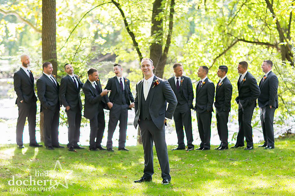 Groom and groomsmen at Riverdale Manor
