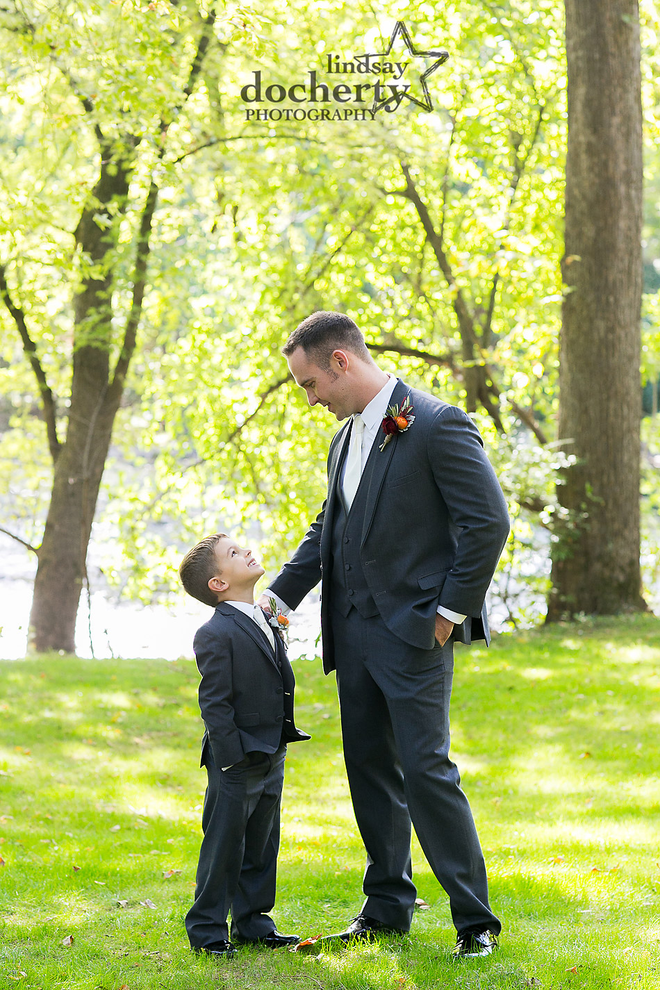 groom and ringbearer at Riverdale Manot