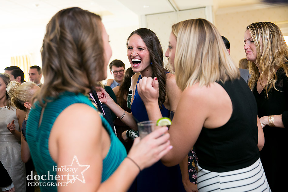guests laughing at Llanerch Country Club wedding