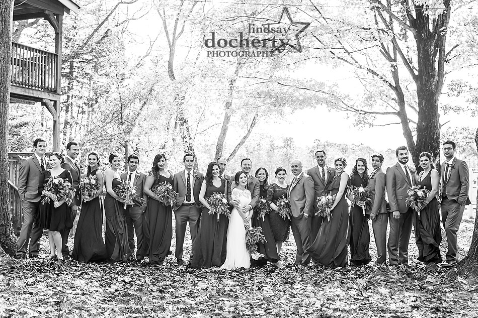 large-wedding-party-at-camp-ockanickon-wedding-in-new-jersey