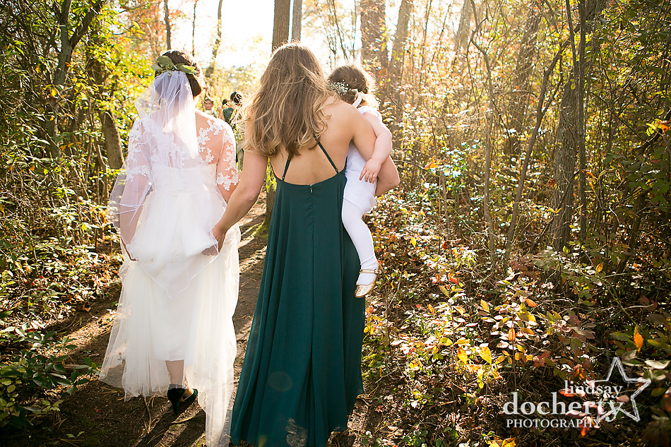maid-of-honor-helping-bride-and-flower-girl-to-chapel-island-at-camp-ockanickon
