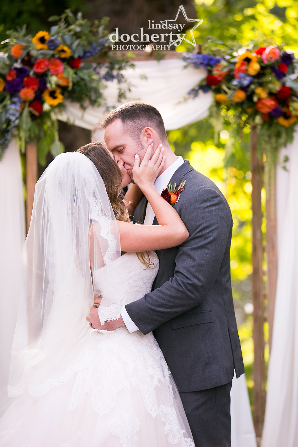 wedding first kiss at Riverdale Manor outdoor ceremony
