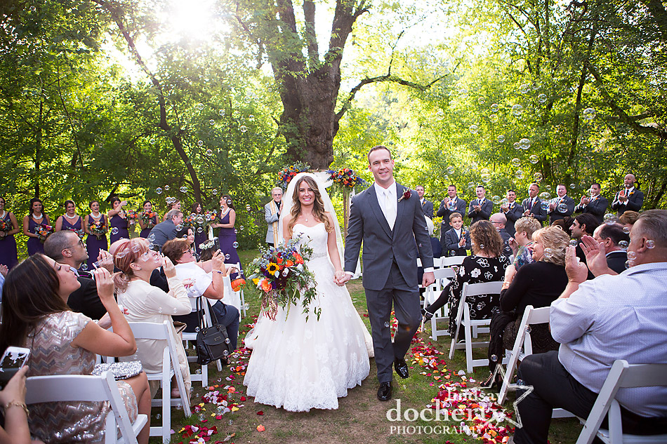 wedding recessional with bubble exit at Riverdale Manor outdoor ceremony