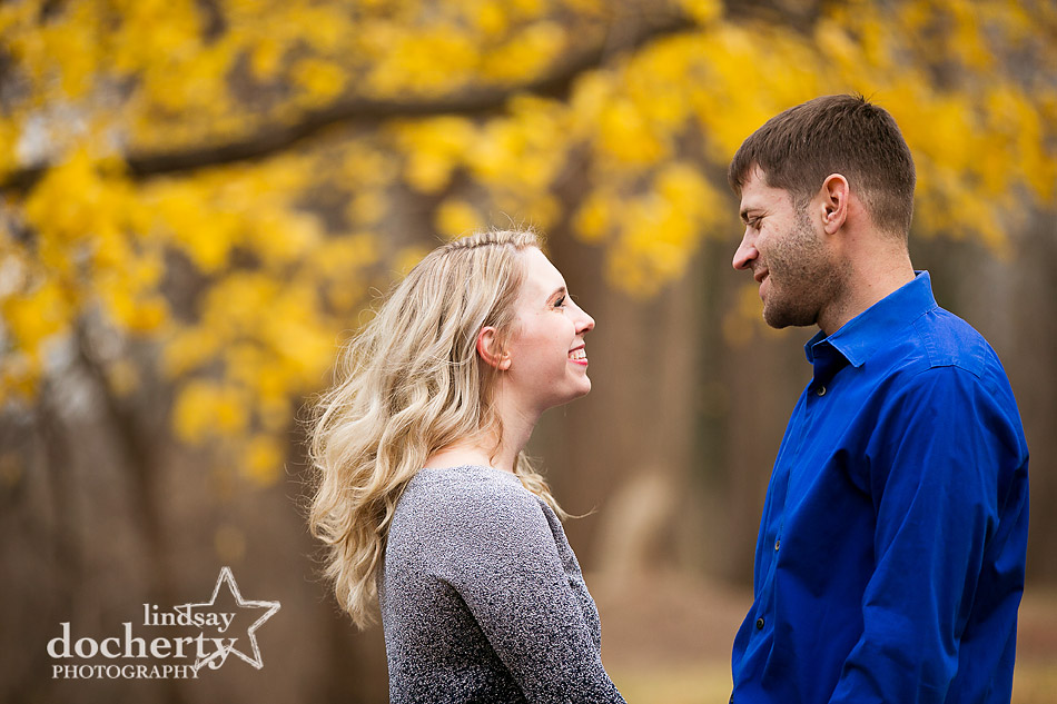 New Hope engagement session with colorful yellow leaves in fall