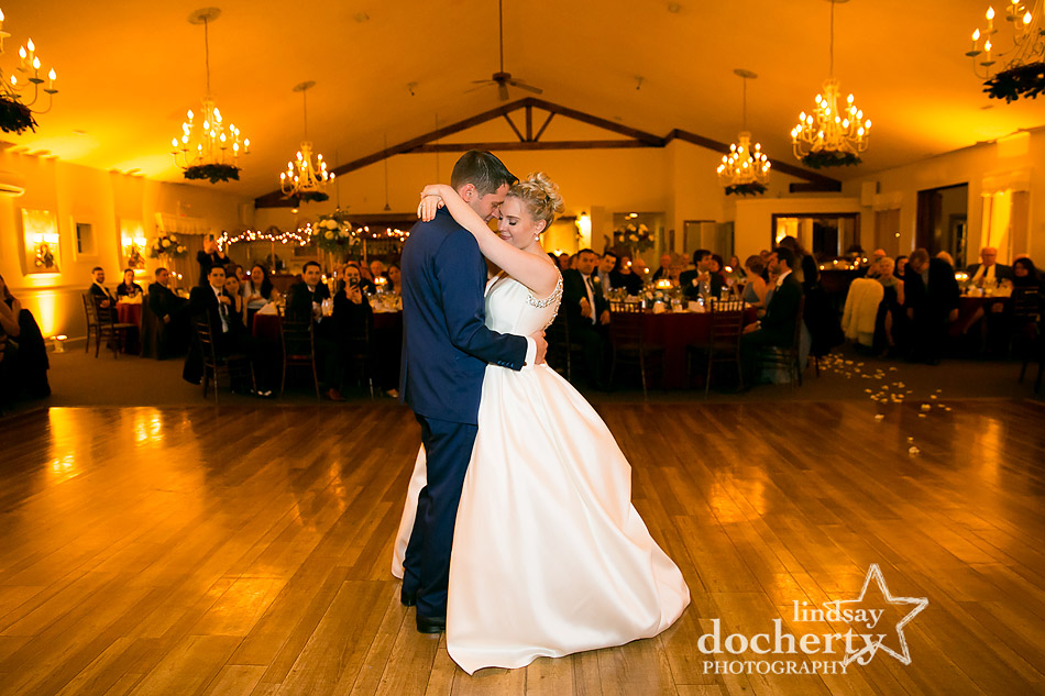bride groom first dance at winter wedding at Holly Hedge Estate in New Hope