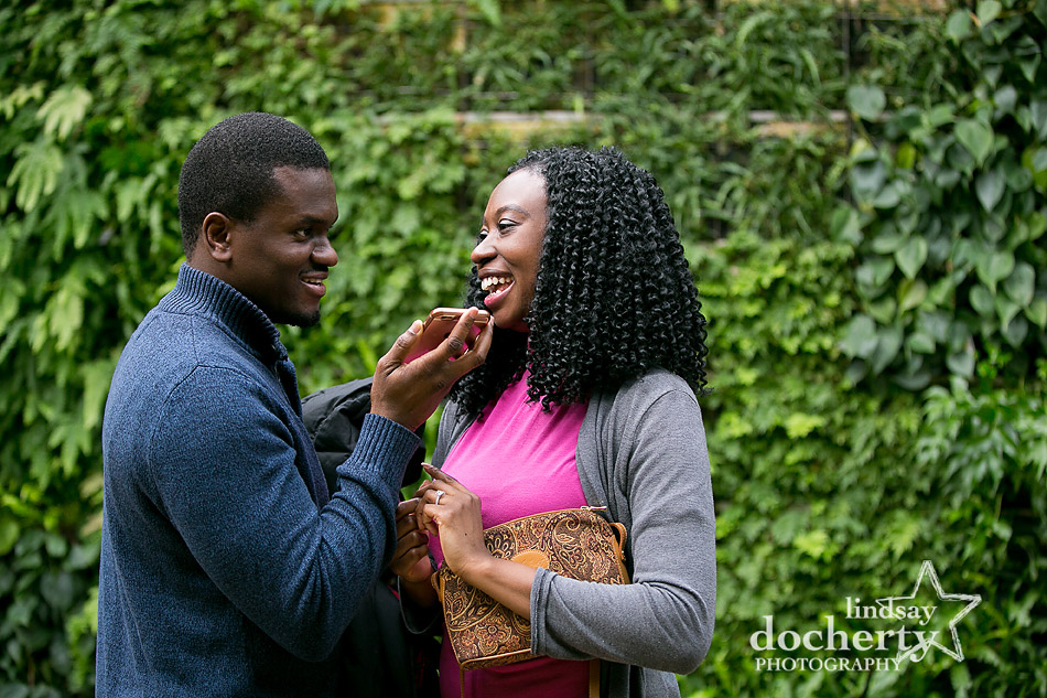 calling parents right after surprise proposal at Longwood Gardens