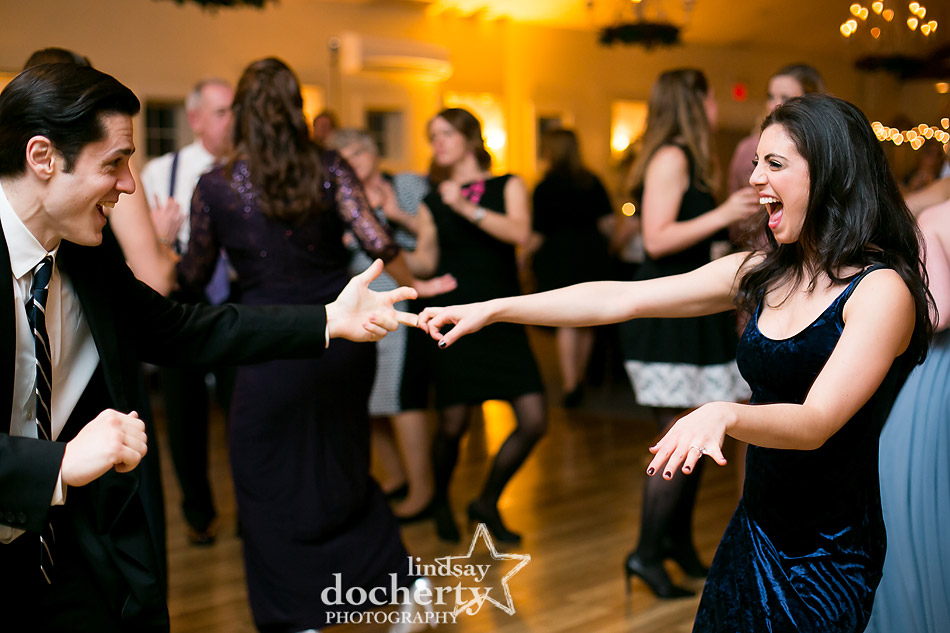 couple partying on dance floor at winter wedding at Holly Hedge Estate in New Hope