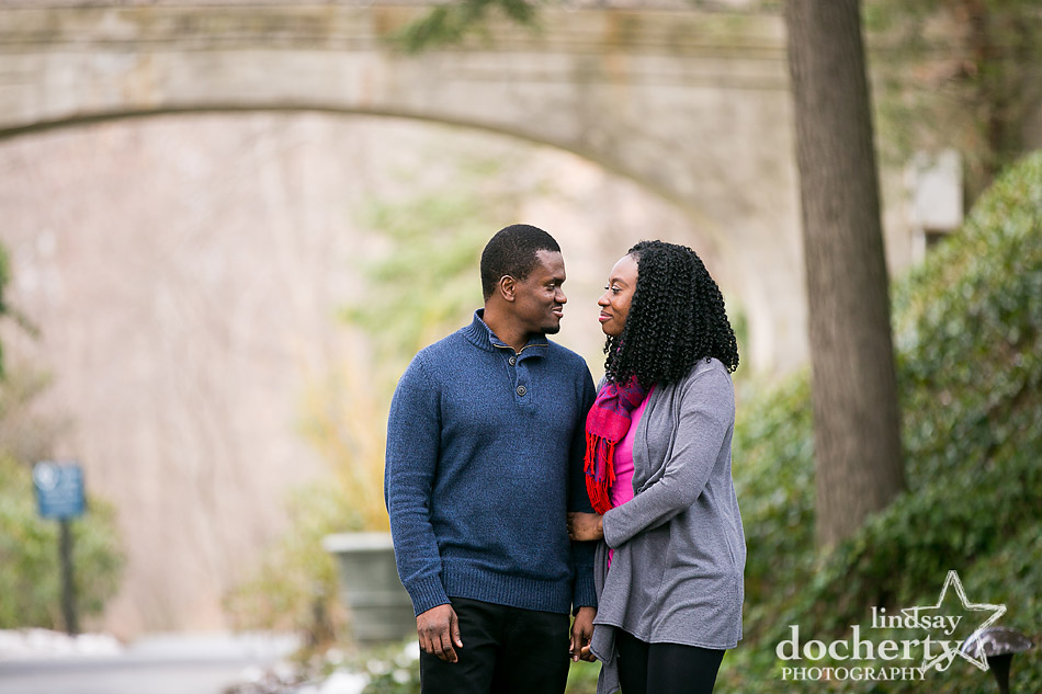 engagement session after proposal outside at Longwood Gardens