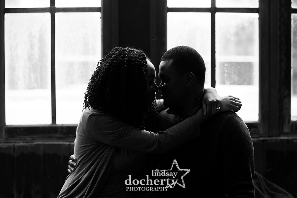 proposal and engagement session at Longwood Gardens silhouette