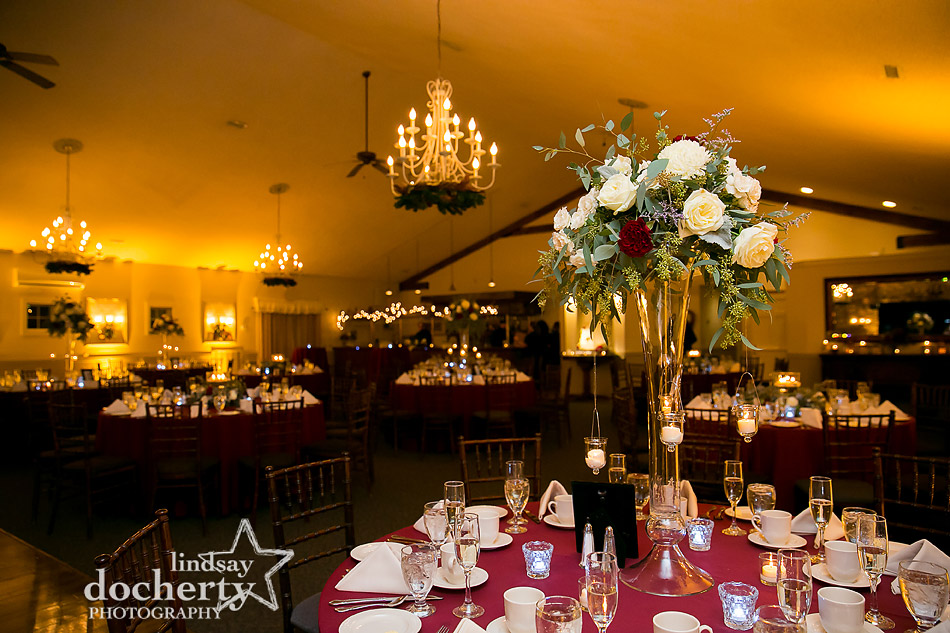 reception setup at winter wedding at Holly Hedge Estate in New Hope