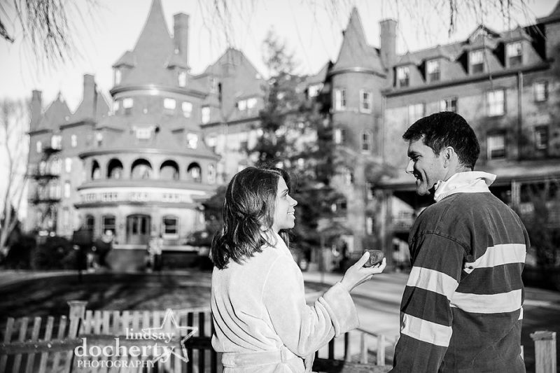 Its a Wonderful Life inspired engagement session throwing a stone