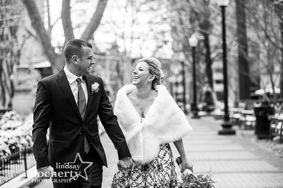 bride and groom on cold wedding day in Philadelphia Rittenhouse Square