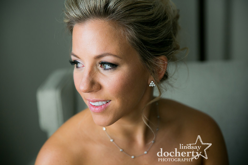 closeup of beautiful bride on winter wedding day