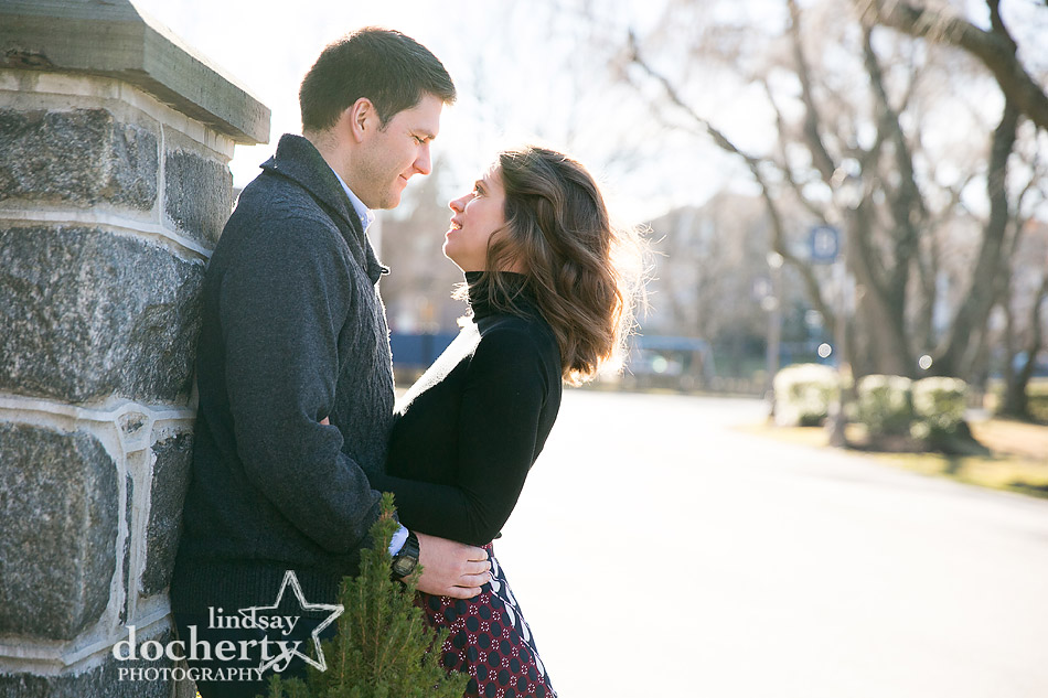 engagement picture of couple outside the Baldwin School on the Main Line