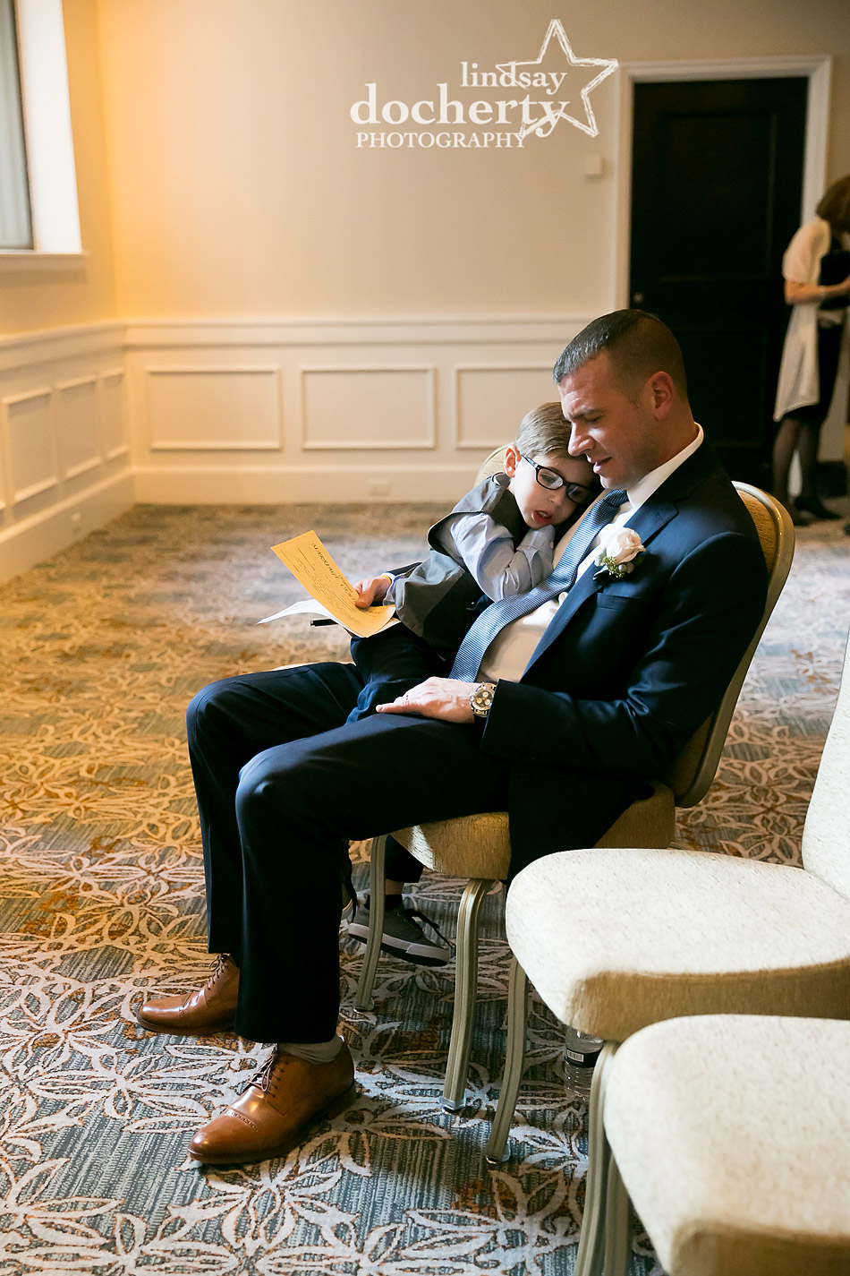 father and son on wedding day at Ritz Carlton Philadelphia