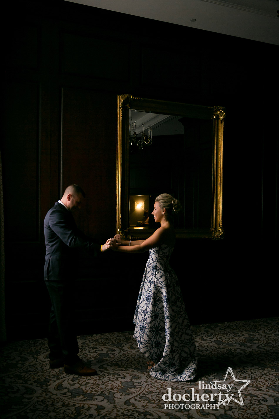 groom sees bride for first time on wedding day at Ritz Carlton
