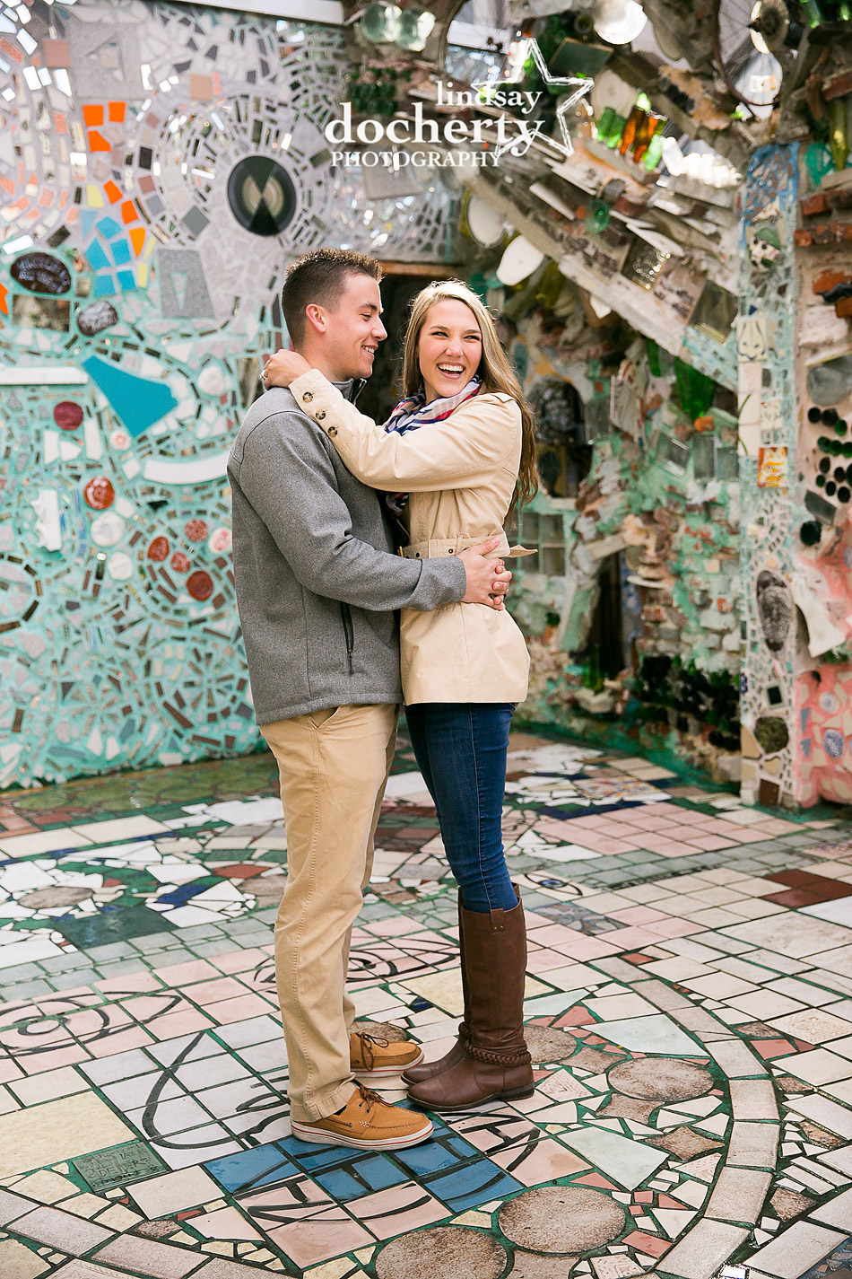happy couple proposal at Philadelphia Magic Gardens