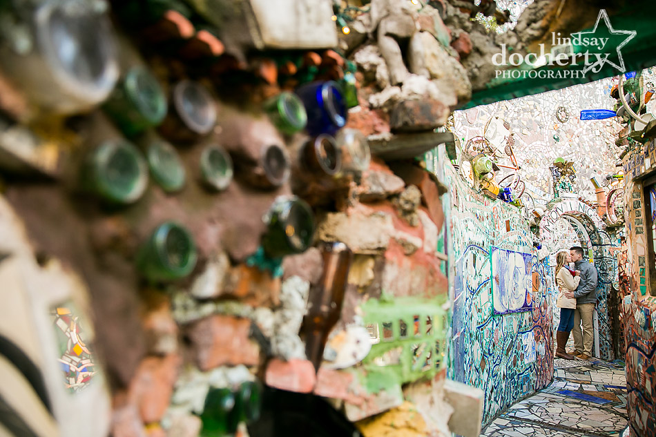 kissing couple down pathway at Philadelphia Magic Gardens