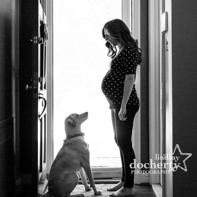 maternity session with puppy dog in Delaware