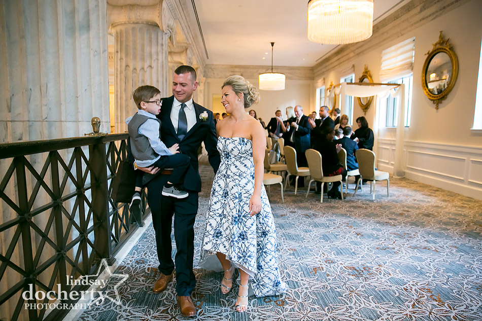 new family after wedding ceremony on balcony at Ritz Carlton in Philadelphia