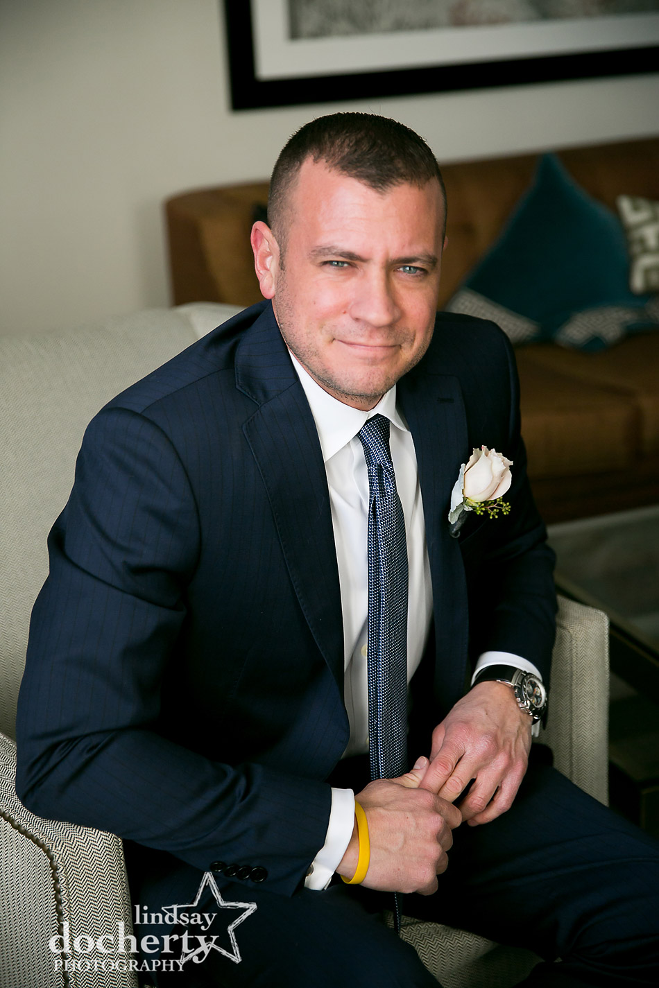 portrait of groom on wedding day at Philly Ritz Carlton
