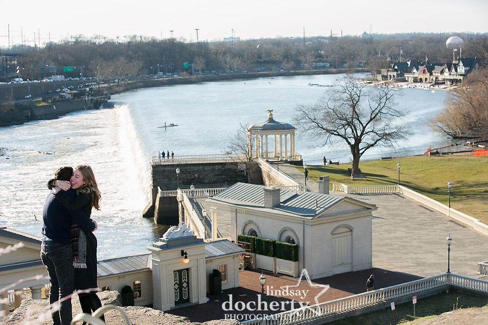 wedding proposal behind Philadelphia Art Museum overlooking Boathouse Row